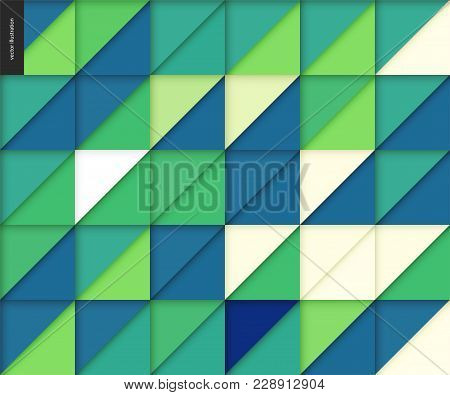 Vector Seamless Geometric Papercut Pattern Of Triangles