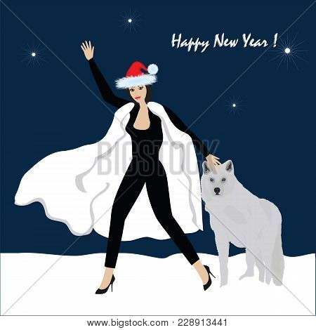 Woman With A Dog Congratulates With A New Year - Winter Night Landscape - Art Creative Modern Vector
