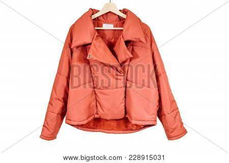Red Autumn Jacket On A White Isolate