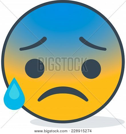 Isolated Cold Sweat Emoticon. Isolated Vector Emoticon.