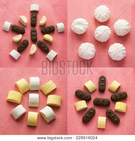Set Of Colorful Background With Different Candies And Sweet. Chocolate, Zephyr And Marshmellow On Pi