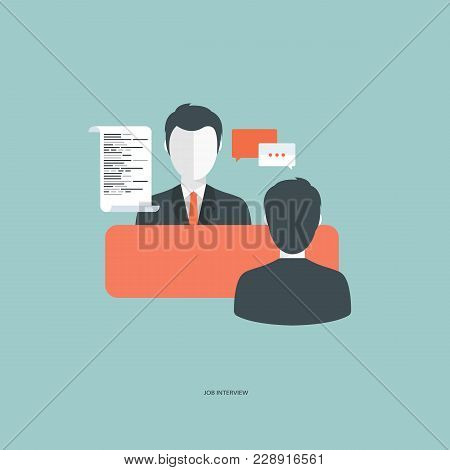 Job Interview Concept. Interview With The Candidate Positions. Flat Vector Illustration.