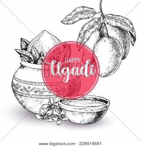 Happy Ugadi. Template Greeting Card For Holiday