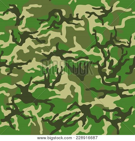Military Camouflage, Texture Repeats Seamless. Camo Pattern For Army Clothing. Green, Brown Color, F