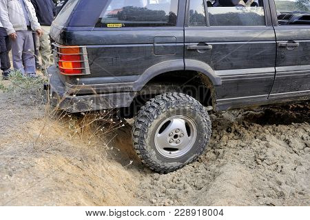 Cabrieres, France - October 14, 2017: A Big Wheel Of Off-road Car In Close Up