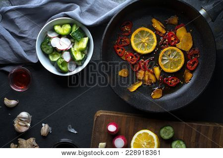 Tableware And Vegetables For Making Sushi Free Space. Asian Cuisine Horizontal