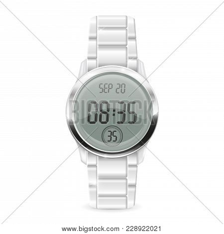Men Digital Watch With Metal Bracelet. Vector 3d Illustration Isolated On White Background