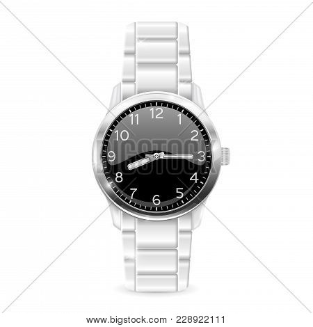 Men Watch With Metal Bracelet. Vector 3d Illustration Isolated On White Background