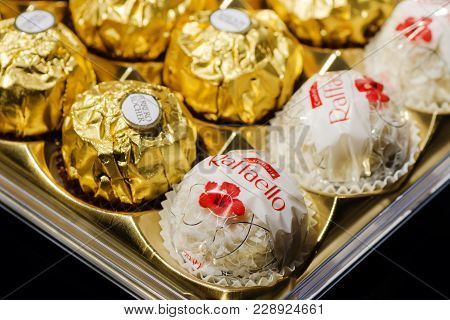 Kwidzyn, Poland - December 19, 2017: Ferrero Collection Chocolate Products. Ferrero Rocher Is Chocol