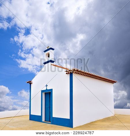 Small Traditional Catholic Chapel At Pomarao Village In Portugal