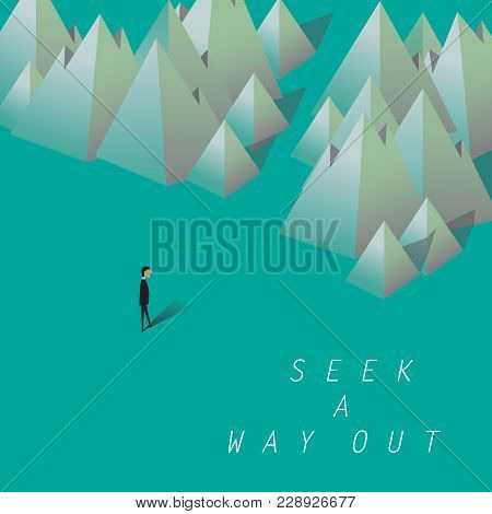 Seek A Way Out. Businessman Looking For A Way Out In The Mountains. Business Concept Of Overcoming C