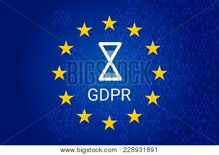 Gdpr - General Data Protection Regulation. Eu Map And Flag, Sand Clock. Vector Illustration