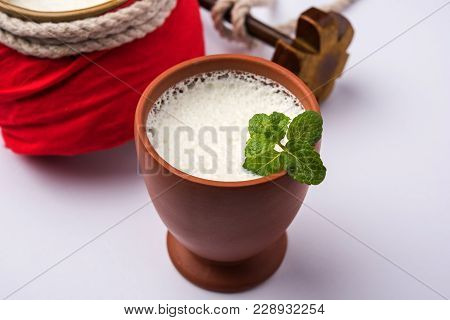 Lassie Or Lassi In Terracotta Glass - Lassi Is An Authentic Indian Cold Drink Made Up Of Curd And Mi