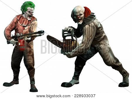 Killer Clowns About To Attack 3d Illustration