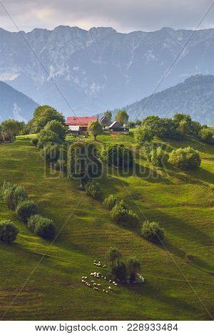 Springtime Rural Landscape With Romanian Village On A Green Hill Near Piatra Craiului Mountain Range