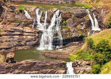 St. Clair Waterfall Near Nuwara Eliya, Sri Lanka. St. Clair Is A One Of The Widest Falls In Sri Lank