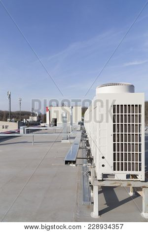 Air-conditioning System Of A Building. Evaporators On The Roof Of The Building.