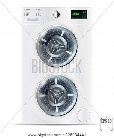 Front Load White Double Washing Machine Isolated On A White Back