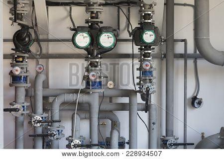Gas Boiler Room. Fragment Of The Boiler-house System.