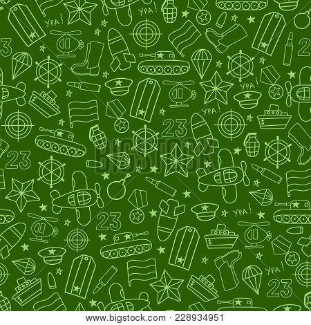 Defenders Day Military Seamless Vector Pattern On Green Background. Russian National Holiday On 23 F