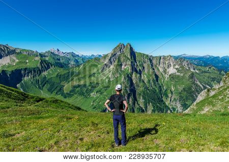 Höfats Mountain in the Allgäu Alps near Oberstdorf, Germany. With its very steep faces it is the most striking of the Allgau