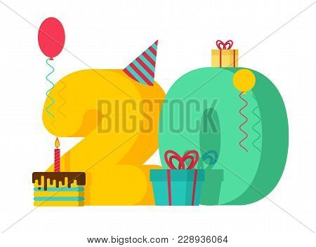 20 Year Birthday Sign. 20th Template Greeting Card Anniversary Celebration. Twenty Number And Festiv