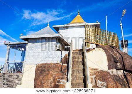 Sri Pada Or Paadaya Temple With Sacred Buddha Footprint In Buddhist Tradition On The Adams Peak Top.
