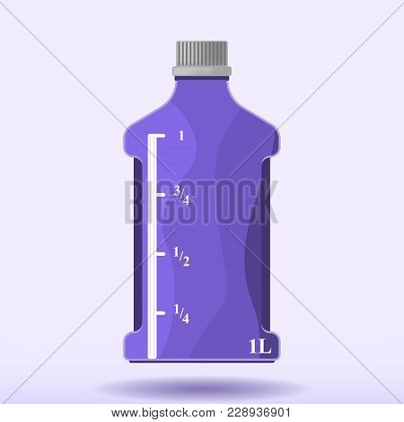 Vector Image Of A Plastic Bottle With A Measuring Scale Of One Liter. Pattern With A Shadow From A B
