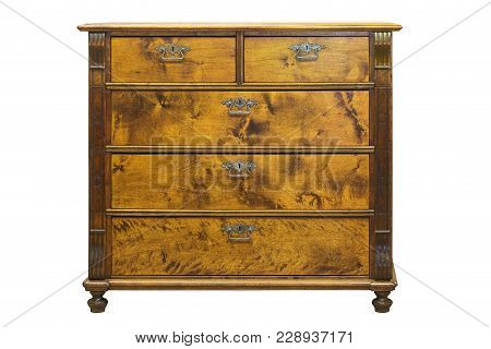 Old Vintage Antique Chest Of Drawers On A White Background