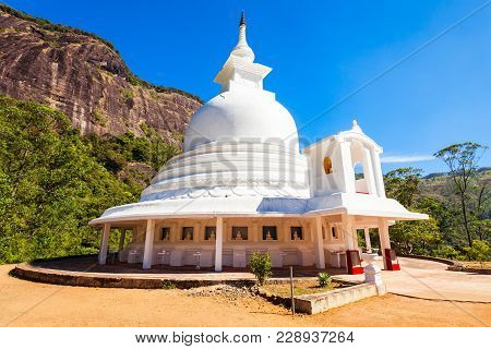 Japanese Peace Stupa Or Peace Pagoda At The Foot Of Adams Peak. Adams Peak Or Sri Pada Is A Tall And