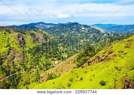 Aerial Panoramic View From Little Adams Peak. Little Adams Peak Is Located In Ella, Sri Lanka
