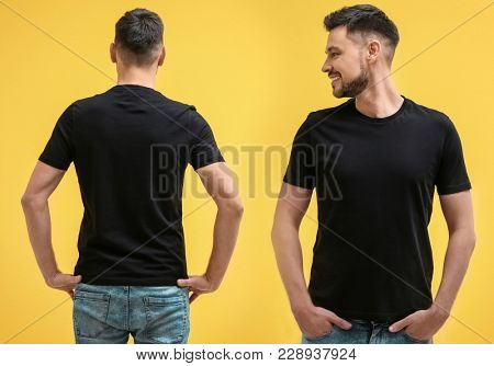 Front and back views of man in blank stylish t-shirt on yellow background. Mockup for design