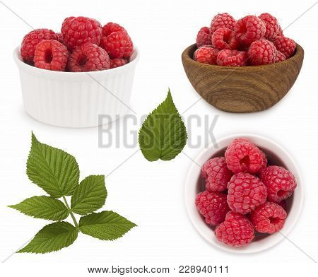 Set Of Red Raspberries With Leaves. Raspberries In A Bowl Isolated On White Background. Vegetarian O