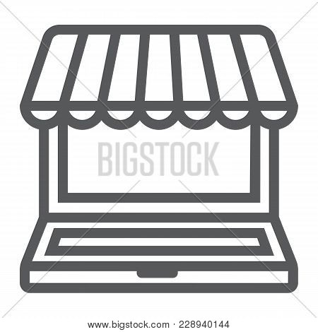 Marketplace Online Line Icon, E Commerce And Marketing, Online Market Sign Vector Graphics, A Linear