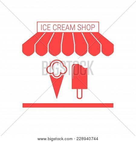 Ice Cream Shop, Frozen Yogurt Single Flat Vector Icon. Striped Awning And Signboard. A Series Of Sho