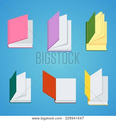 Set Of Closed Books For Reading And Studying At School, University. Flat Vector Cartoon Illustration