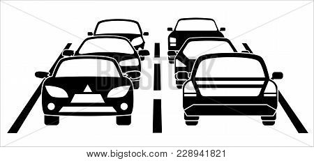 A Traffic Jam On The Road During Rush Hour. Vector Illustration