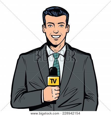 Tv Presenter With Microphone In Hand. Breaking News, Broadcast Concept. Pop Art Retro Vector