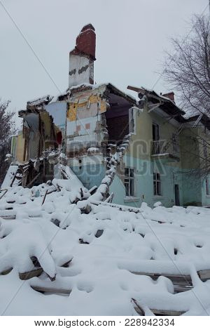 Ruins of old house Demolishing building.