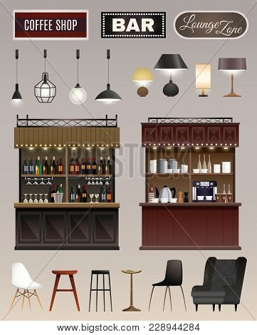 Coffee Shop Bar Interior Elements Collection With Counters Wine Liquor Shelves Lamps Chairs Stools I