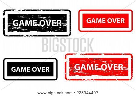 Game Over - Rubber Stamp - Vector - Black And Red