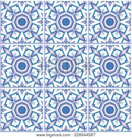 Portuguese Floor Tiles Design, Seamless Pattern