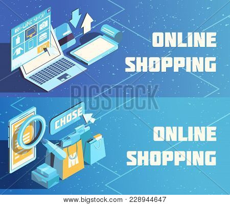 Online Shopping Horizontal Isometric Banners On Blue Background With Product Choice, Electronic Paym
