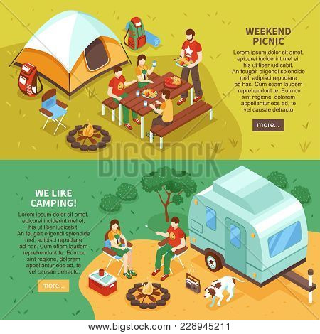 Expedition Travel Hiking 2 Horizontal Isometric Webpage Banners With Weekend Family Picnic Camping V