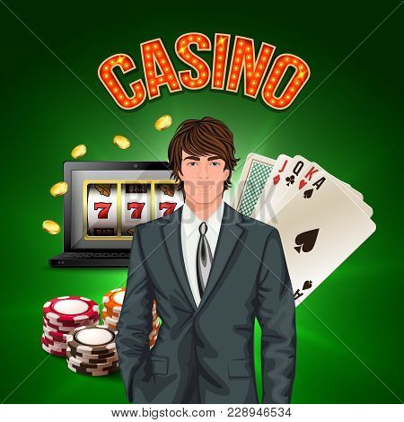Casino Player Realistic Composition With Stylish Man In A Suit In The Foreground And Game Attributes