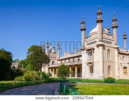 The Royal Pavilion (Brighton Pavilion), former royal residence built in the Indo-Saracenic style pictured from the Pavilion Gardens
