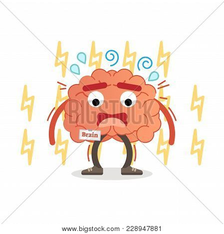 Brain Character Under Pressure, Vector Illustration. Stress Impulse And Anxiety. Mental Activity Con