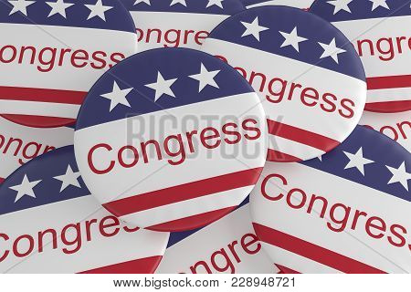 Usa Politics News Badges: Pile Of Congress Buttons With Us Flag, 3d Illustration