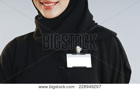 Saudi Woman Torso With An Isolated Badge On Her Chest