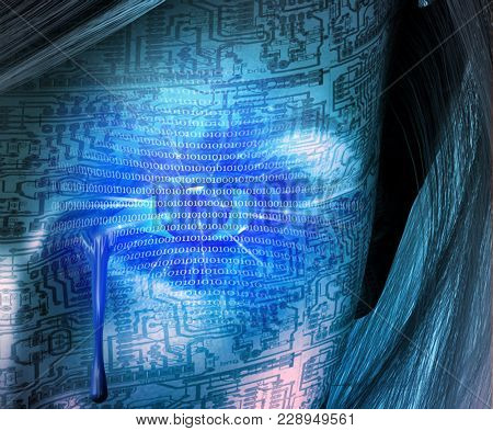 Cyborg woman cries. Binary code, circuit pattern. 3D rendering